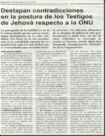 ONU - 2003 02 12- Newspaper - Pais Spain