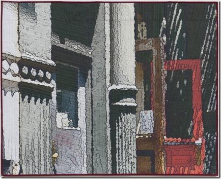 Soft City red door 40 x 50 mixed media textile
