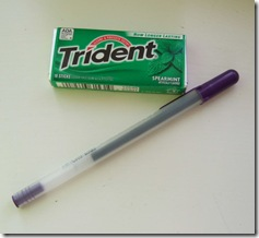 gum and pen