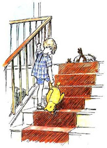 Christopher Robin on stairs by E.H. Shepard