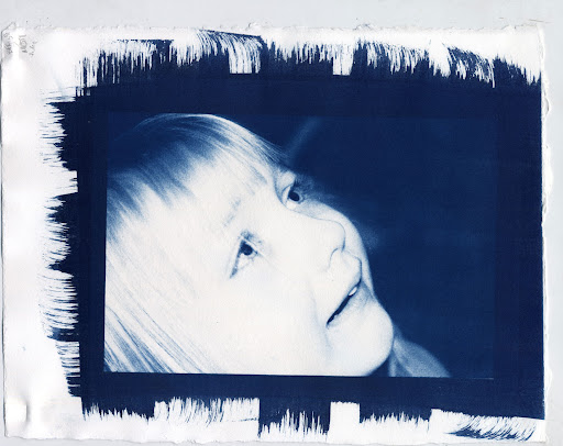 Julia Crying - Cyanotype