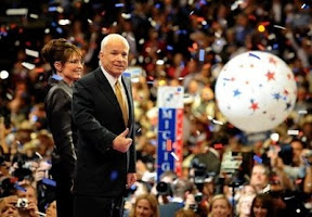 Republican presidential candidate John McCain and his running mate Sarah Palin celebrate on stage at the end of the Republican National Convention in St Paul, Minnesota on September 4.  (AFP/Robyn Beck)