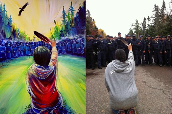 """At right is the painting by Fanny Aishaa entitled """"Wisp of Hope. Aishaa based her painting on the Ossie Michelin, APTN National News, photograph of Amanda Polshies at left."""