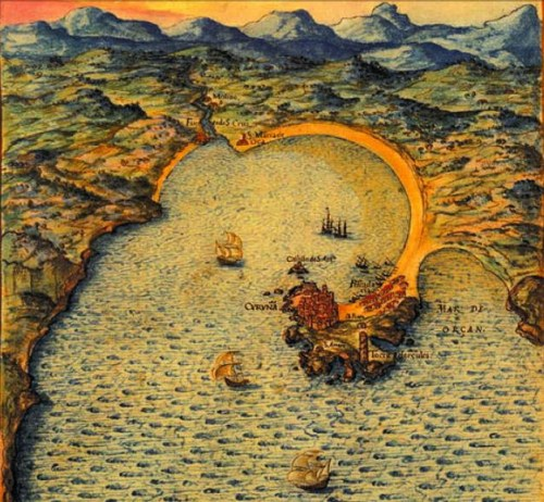 Ría de A Coruña en 1634, mapa de Pedro Teixeira