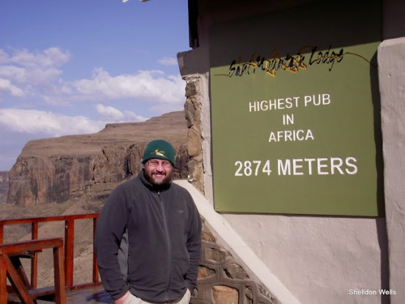 Shelldon at the highest pub in Africa