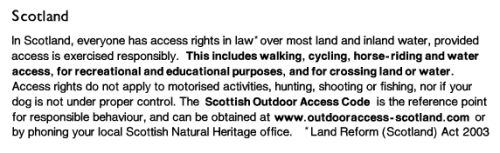 OS key for access in Scotland