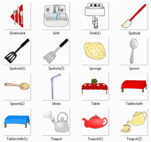 Common Kitchen Utensils Names Inside Silverware Sink Spatula Sponge Spoon Straw Table Tablecloth Teapot Kitchen Pictures And List Of Utensils With Picture Names
