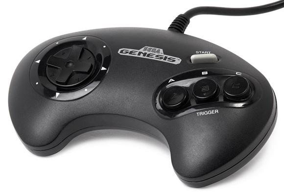 Controle clássico do Genesis (Mega Drive), com três botões