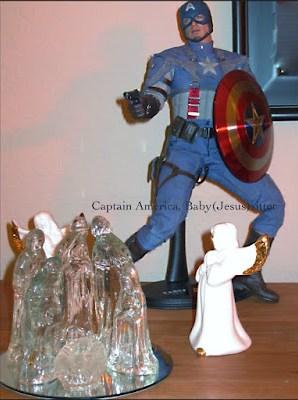 Captain America watches over the Nativity scene