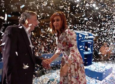 President-elect Fernández de Kirchner celebrates election night with her husband and predecessor, Néstor Kirchner.
