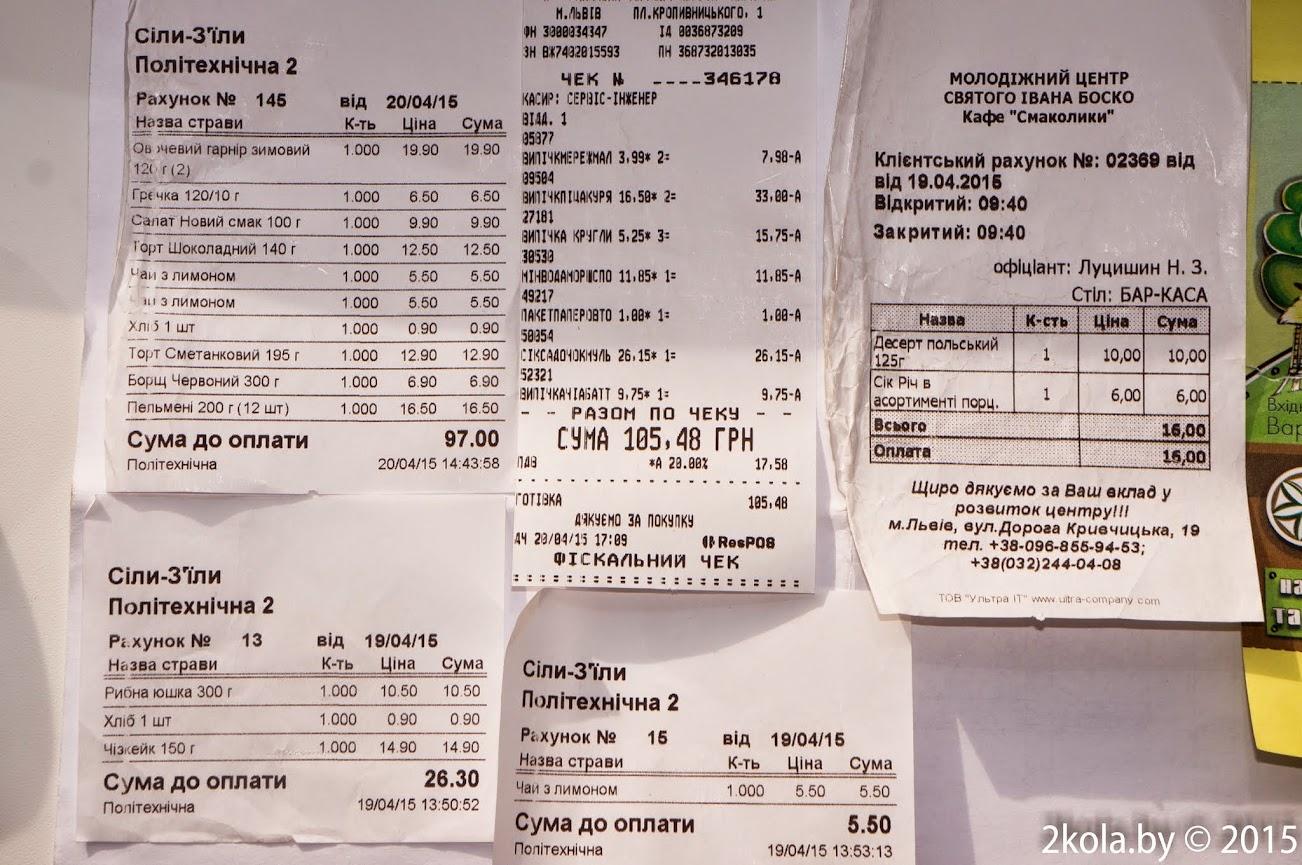 Стоимость в кафе г . Львова