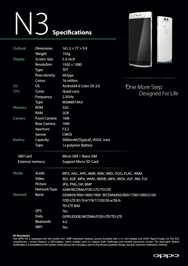 OPPO N3 Specifications