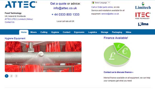 Attec web design screen shot