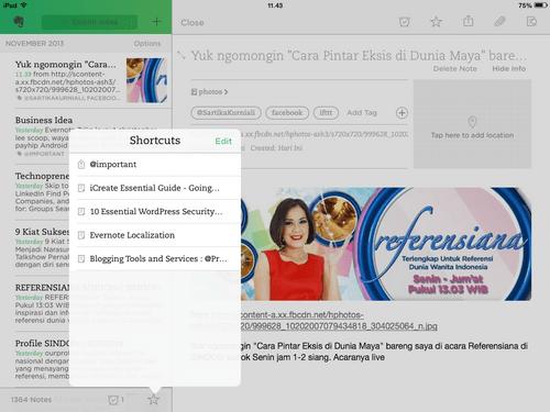 Catatan dan Shortcuts Evernote iOS7
