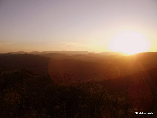 Sun going down over Hluhluwe Imfolozi Game Reserve