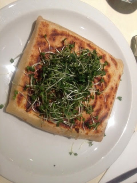 A vegetable crepe with cress, at Cafe Creperie