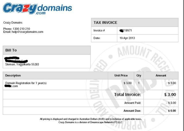 Hasil Order Domain .COM $3 di CrazyDomains