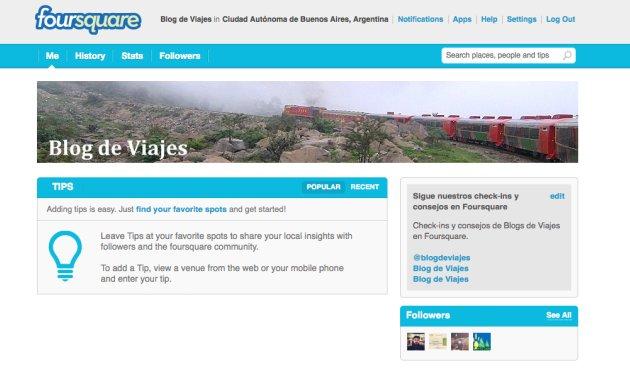 Blog de viajes en Foursquare