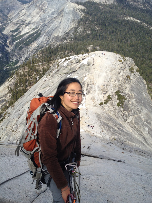 Rappelling down Half Dome