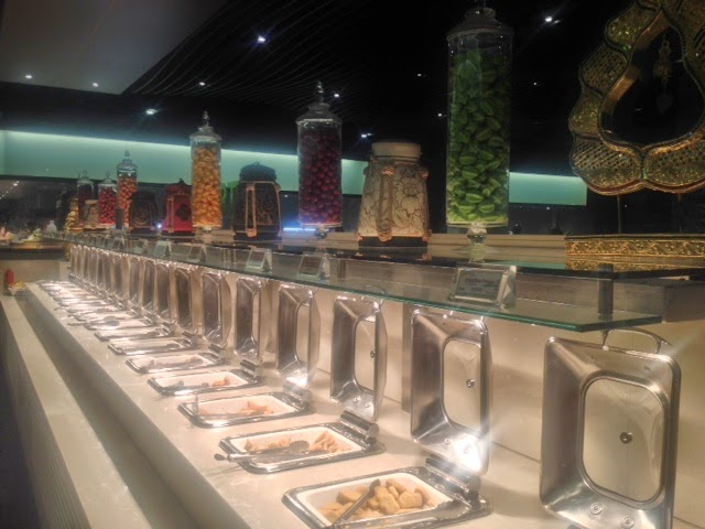 A line of food items at the Global buffet, Ilford