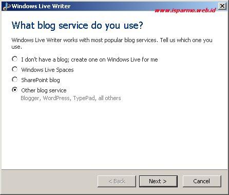 Windows Live Writer - Add blog account