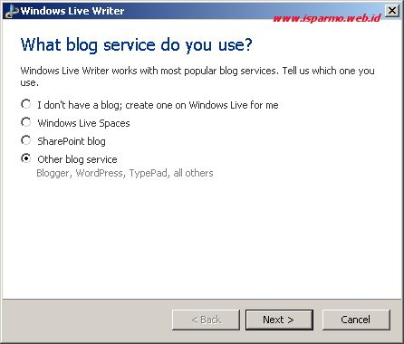 Windows Live Writer - Add blog account