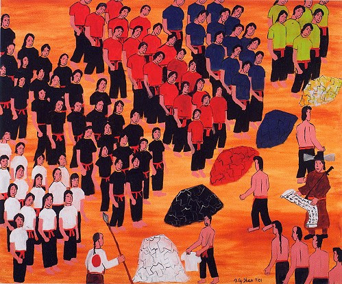Artist rendition of the Hmong being placed into Chinese concentration camps. Each camp was forced to wear specific colors.
