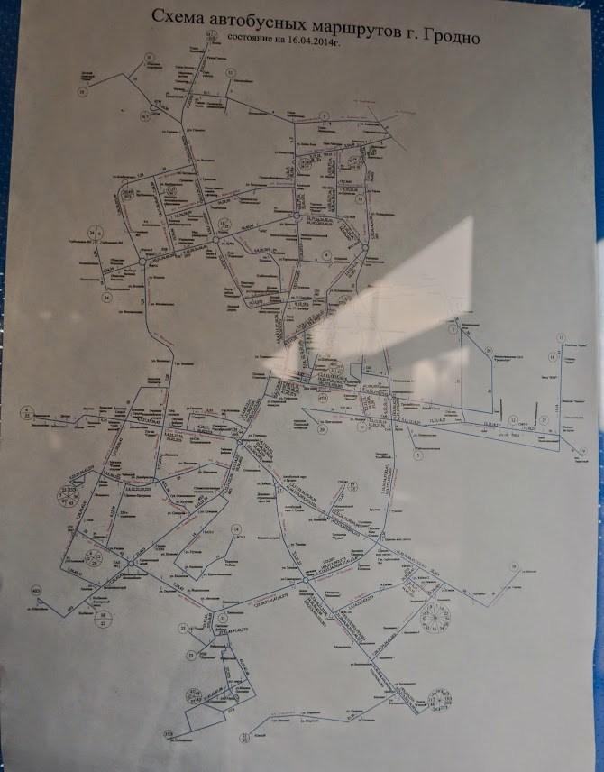 Схема движения автобусов по г. Гродно