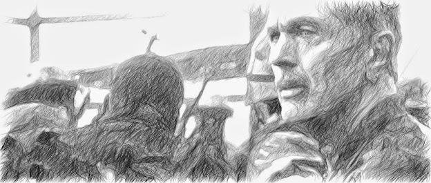 Un dibujo representando a Norman Jackson, un tipo con bigote y mirada intensa.