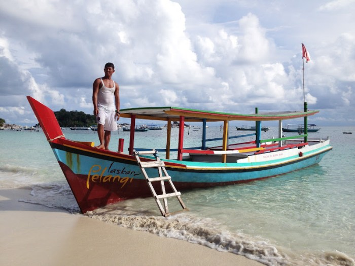 Our boat and its captain, Belitung