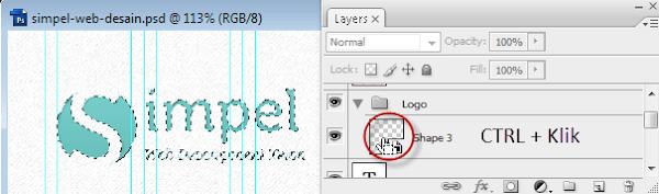 Ctrl+Click pada layer thumbnail untuk membuat seleksi