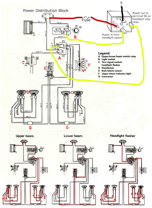 super simple headlamp circuit upgrade for 240 models