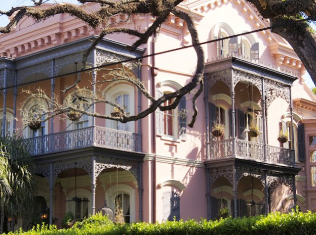 Pink mansion in New Orleans Garden District