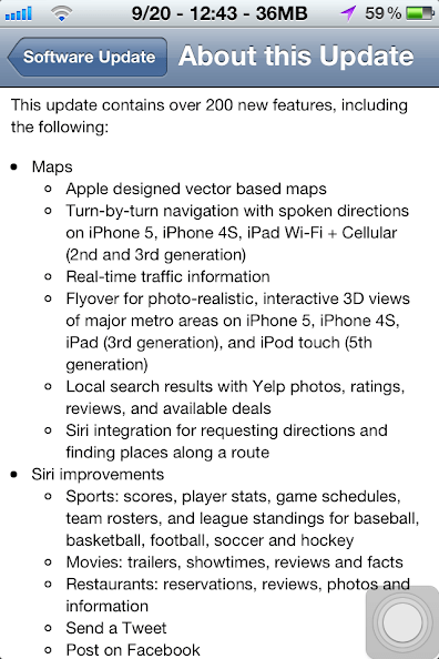 Screenshot from iOS 6 upgrade, Should I upgrade iOS 5.1.1 to iOS 6? - Desire for iPhone 5 - Detail article at http://bit.ly/iosupgrade