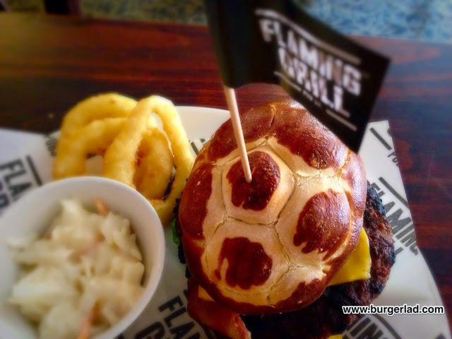 Flaming Grill Pubs Cheese and Bacon Pretzel Burger