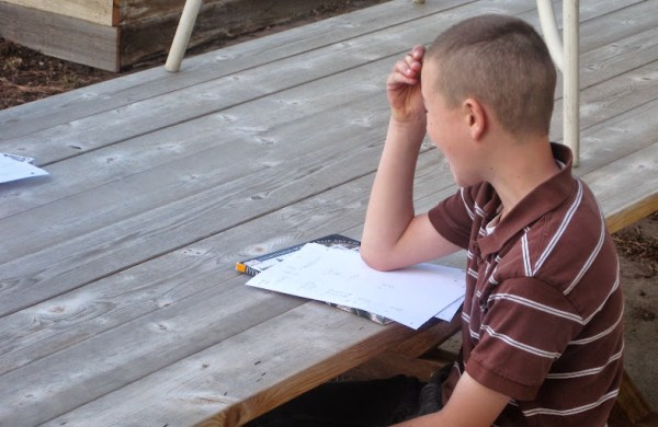 homeschooling without a school room - tables can even be outside