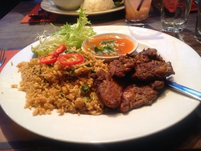 Traditional beef Rendang and nasi goreng at Banana Tree London