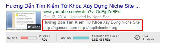 Tu khoa trong phan description seo youtube
