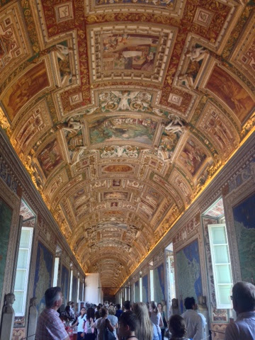 The ceiling architecture of the Cistine Chapel