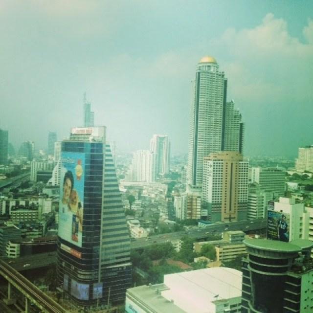 The Bangkok city skyline view