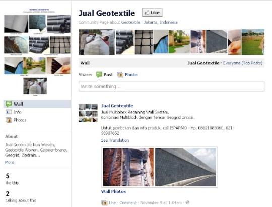 jual geotextile geomembrane Fanpage Facebook