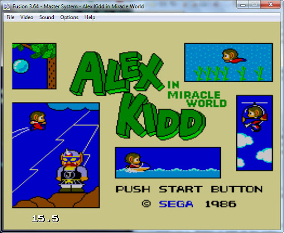 Alex Kidd in Miracle World rodando no emulador Fusion