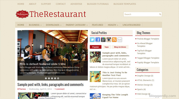 The Restaurant Blogger template