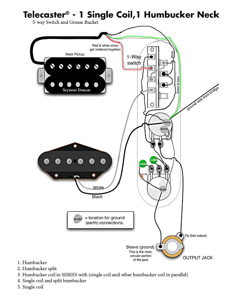Tele W Humbucker In Neck Regular 5 Way Switch And