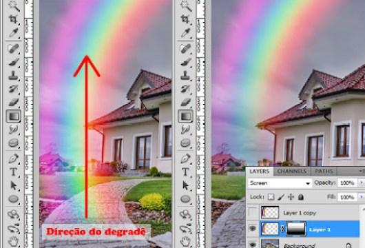 Arraste o degradê preto e branco para mascarar a porção inferior do arco-íris