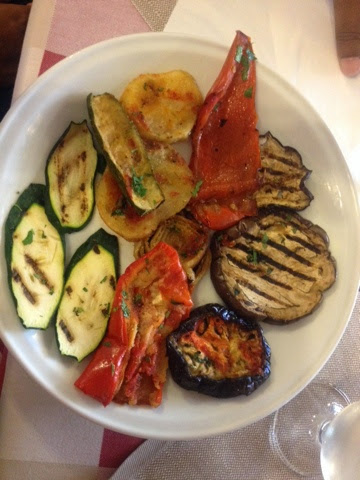 Grilled aubergines and peppers starter from Rome