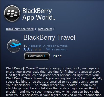 Blackberry Travel App