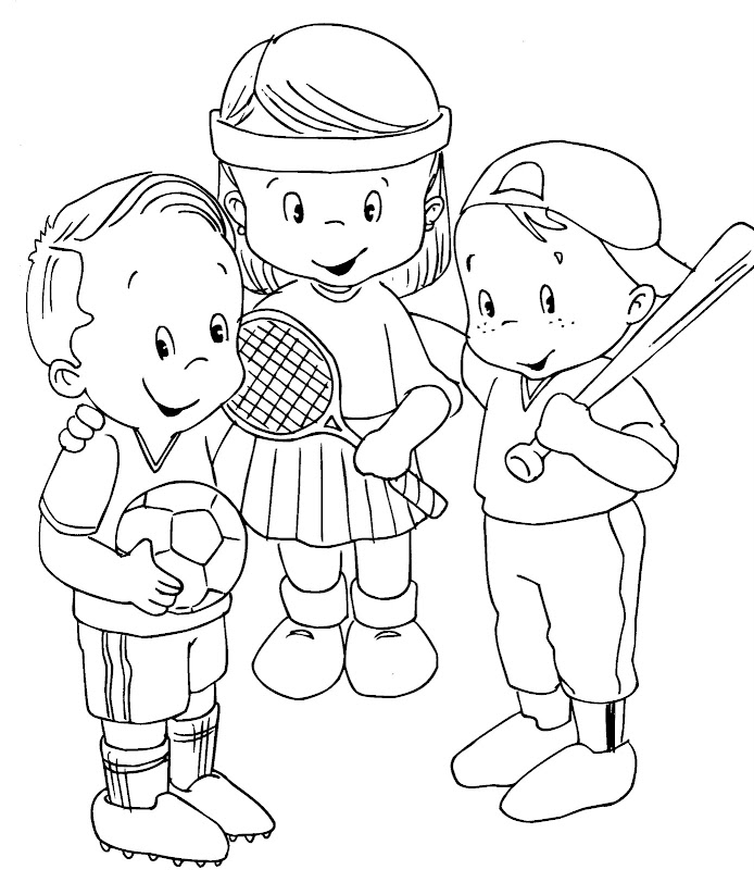 sports kids free coloring pages