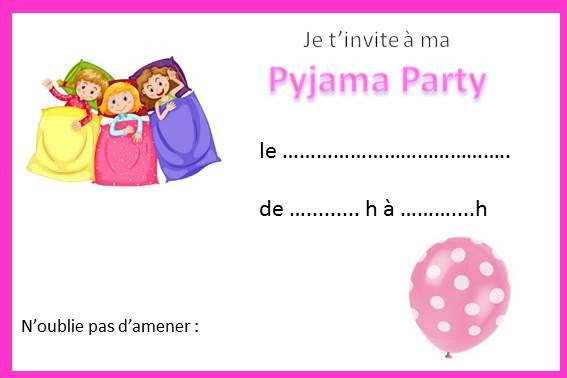 invitation anniversaire fille pyjama