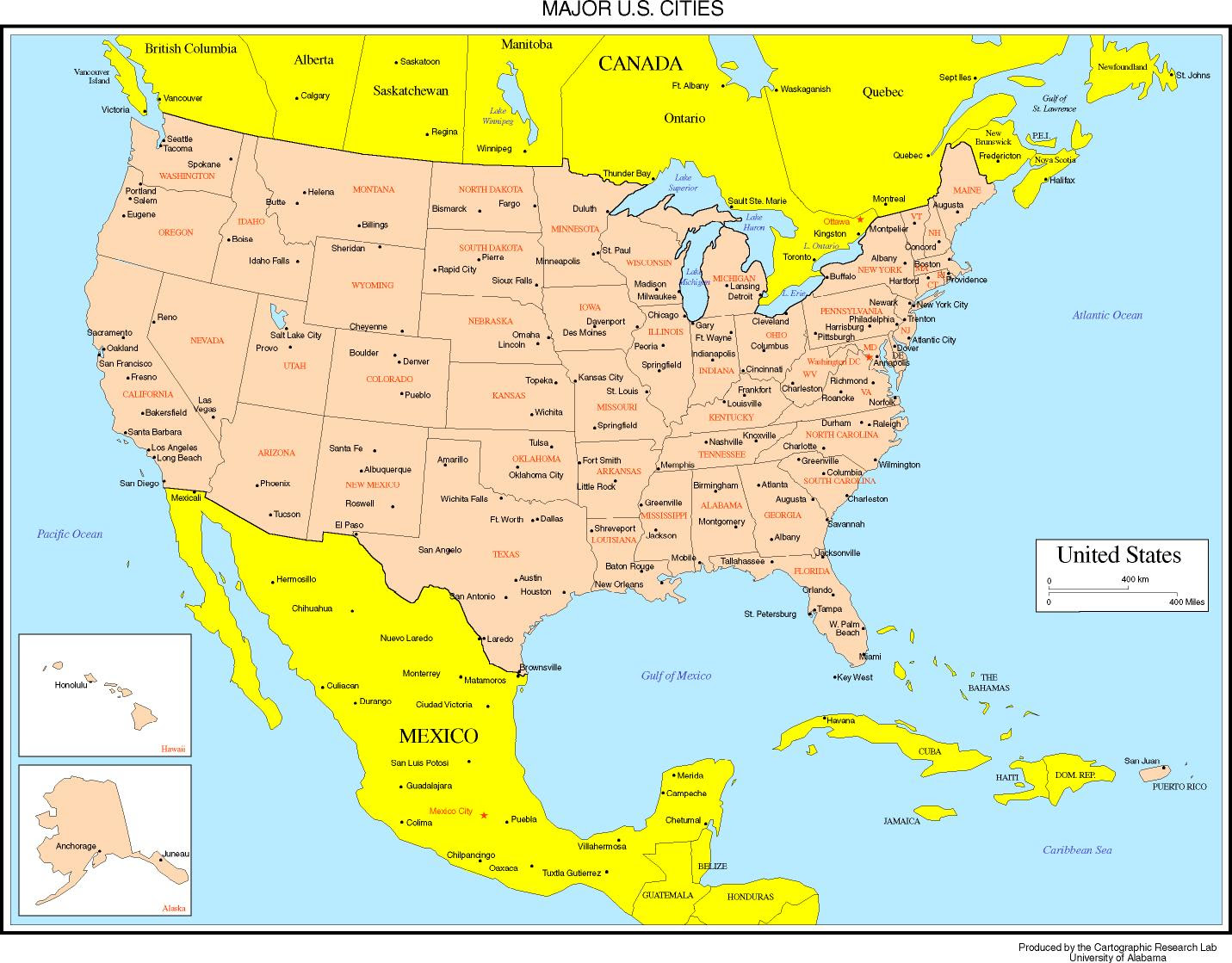 Map Of United States And Canada With Major Cities Cvflvbp